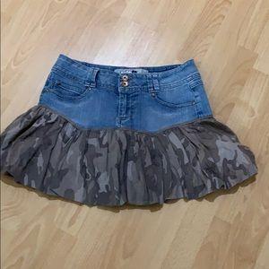 Jolt mini denim/camo mini skirt